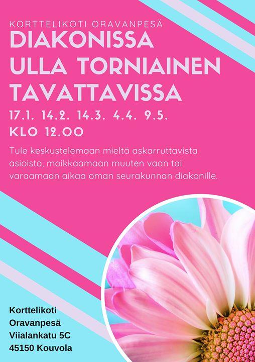 Diakonissa Ulla Torniainen tavattavissa Oravanpesällä